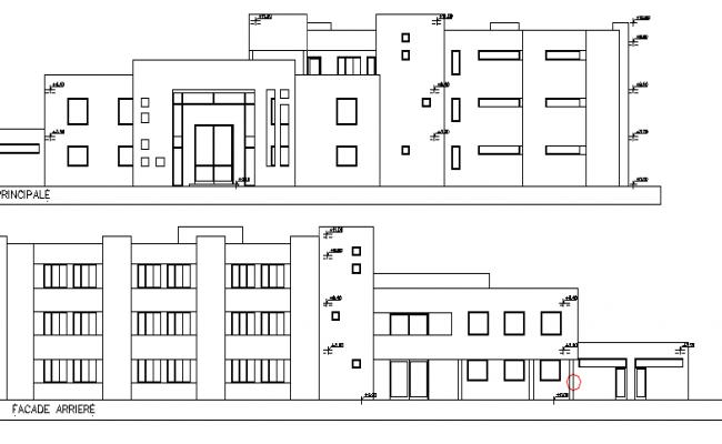 Multi-Flooring School Architecture Design and Elevation dwg file