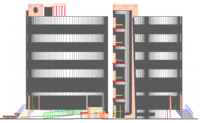 Multi Flooring Star Hotel Elevation and Section Plan dwg file