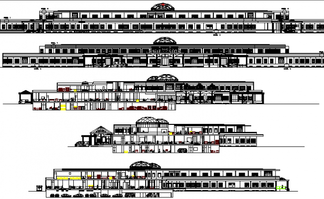 Multi-Flooring and Multi-Specialty Hospital Elevation and Section Plan dwg file