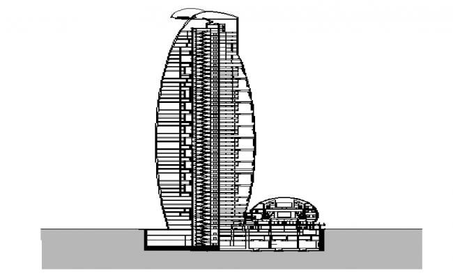 Multi Purpose Building Elevation dwg file