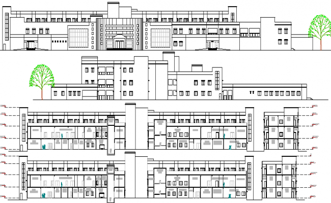 Multi-Specialty Hospital Elevation and Section Plan dwg file