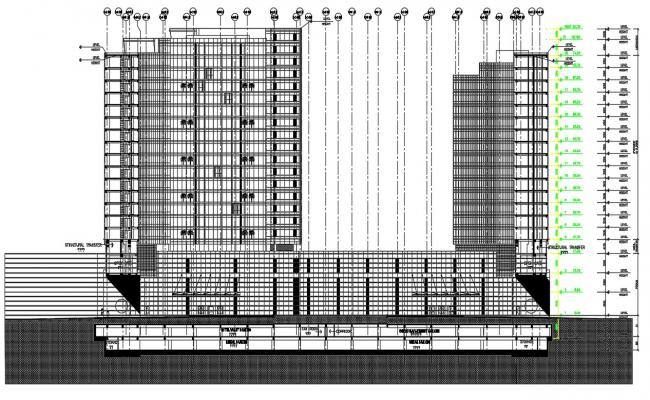 Multi Story Building Section Drawing AutoCAD File