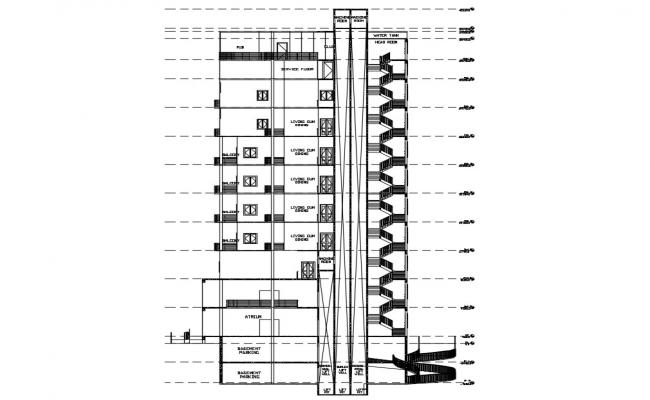 Multi Story Section Of Apartment DWG  File Free