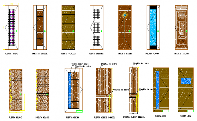 Multi-design door blocks details dwg file