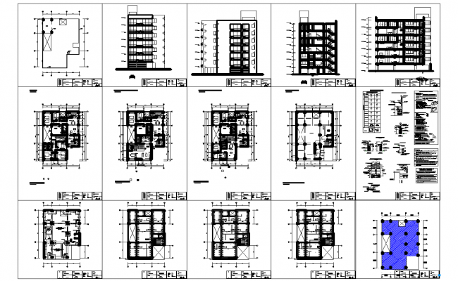 Multi family apartment architecture plan and constructions detail