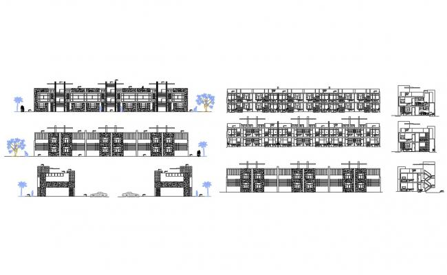 Multi-family apartment building blocks all sided elevation and section details dwg file