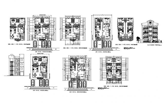 Multi-family apartment building elevation, section and floor plan details dwg file
