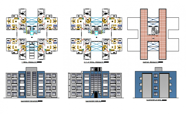 family apartment building elevation and floor plan details dwg file