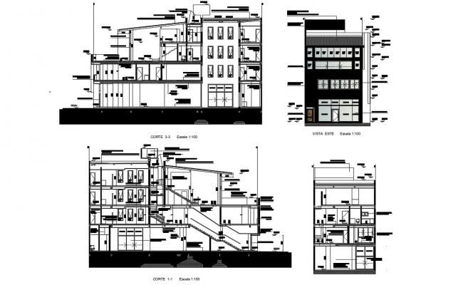 Multi-family apartment flat main elevation and all side sectional details dwg file