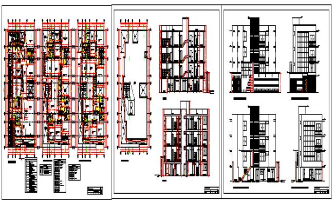 Multi family apartment housing design drawing