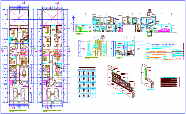 Multi family building distribution plan,door and window detail,cement block view with elevation and section view dwg file