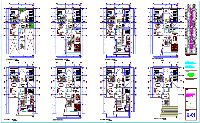 Multi family building floor plan view dwg file