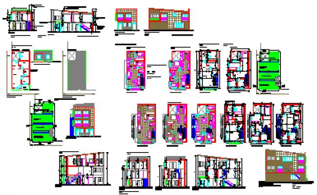 Multi family housing 3 floors design drawing