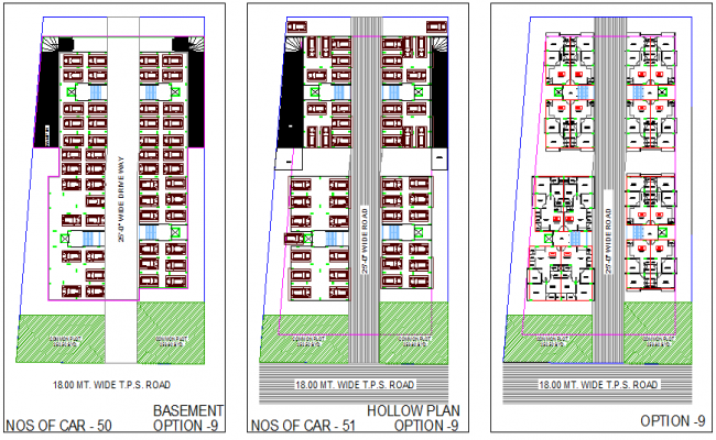 Multi-family housing apartment floor plan details dwg file