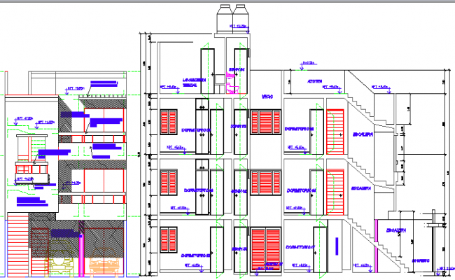 Multi-family housing building detailing section plan dwg file