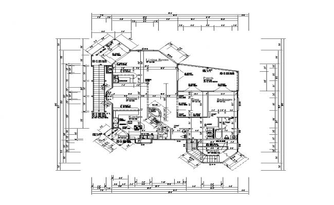 Multi-family housing bungalow detail plan layout autocad file