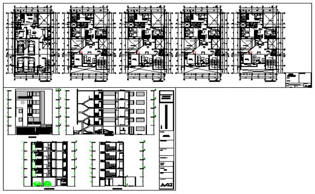 Multi family housing storay flat 5 floor design drawing