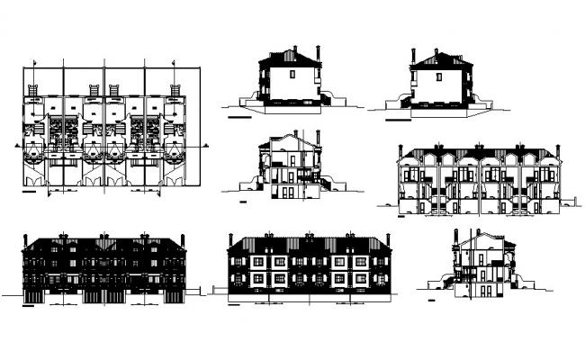Multi-family modern apartment building detailed architecture project dwg file