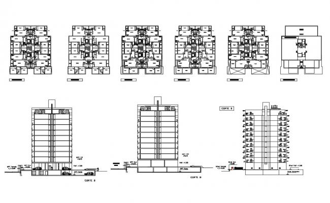 Multi-family residential apartment building elevation, section and floor plan details dwg file