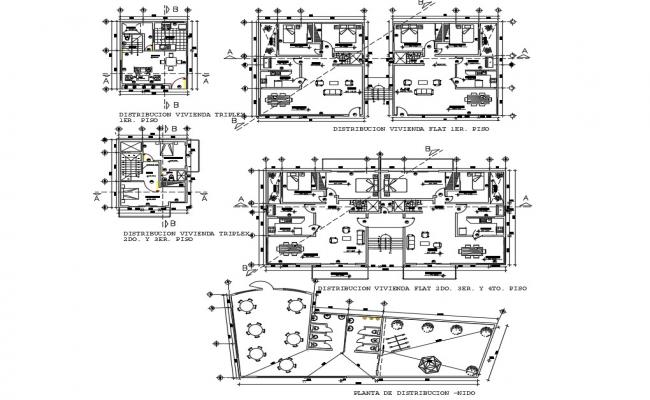 Multi-family residential building distribution plan of duplex, flat, triplex cad drawing details dwg file