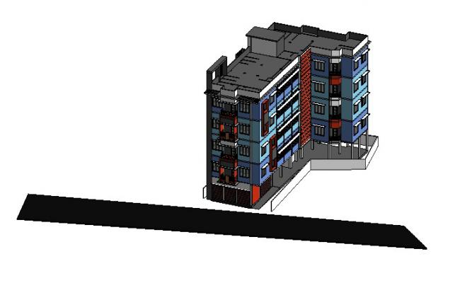 Multi-family residential flats 3d drawing details rvt file
