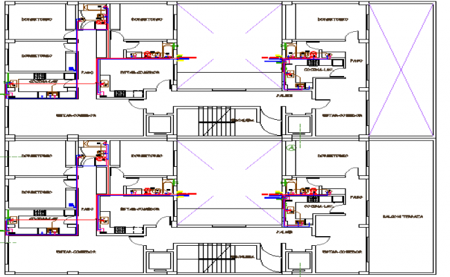 Multi-family residential housing building architecture layout dwg file