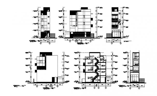 Multi-family town house building elevation and section cad drawing details dwg file