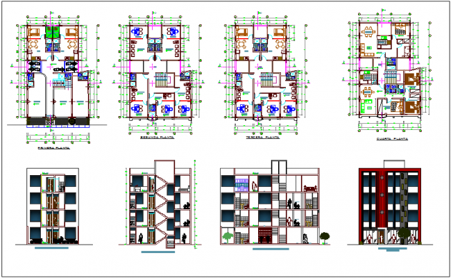 Multi family with offices and stores in jungle zone with floor plan,elevation and section view dwg file