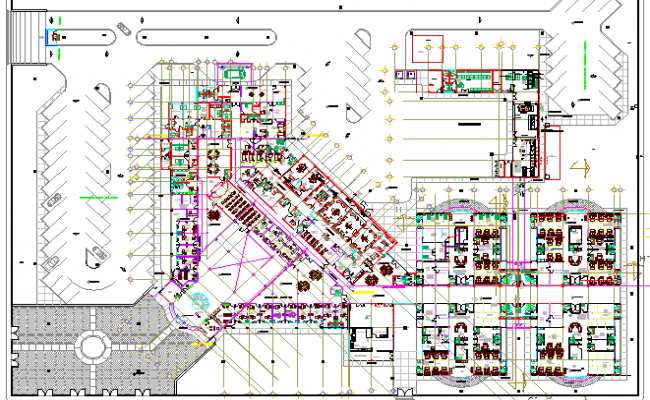 Multi-flooring 30 beds hospital architecture layout dwg file
