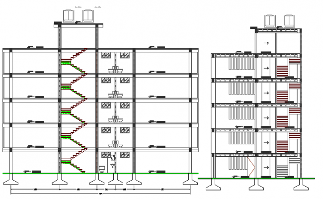 Multi-flooring admin office building sectional view details dwg file