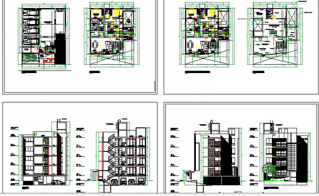 Multi-flooring and multi family housing apartment architecture project dwg file