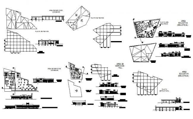 Multi-flooring auditorium hall building detailed architecture project dwg file