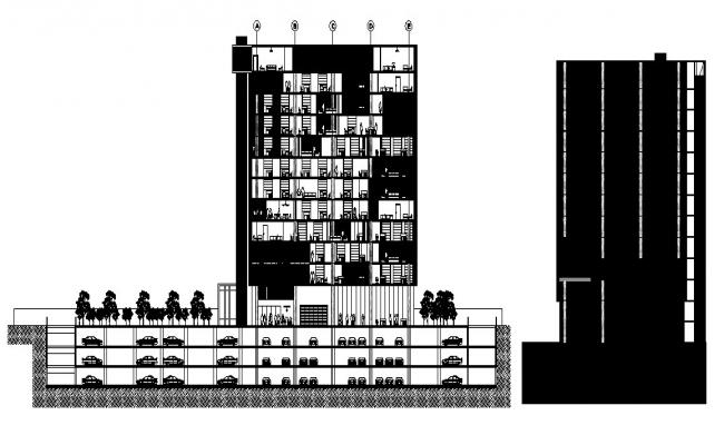 Multi-flooring bank head quarter building main elevation and section details dwg file