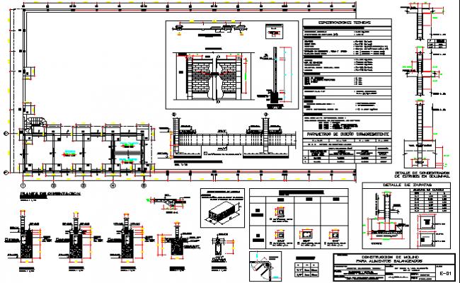 Multi-flooring building constructive details dwg file