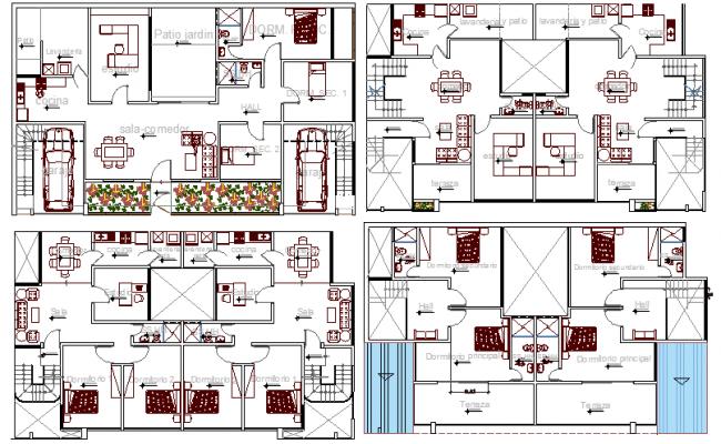 Multi-flooring bungalow all floors layout plan details dwg file