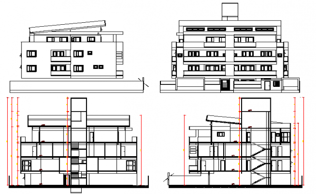 Multi-flooring bungalow elevation and section dwg file