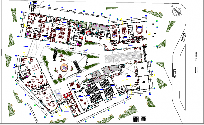 Multi-flooring business center landscaping and architecture layout plan dwg file