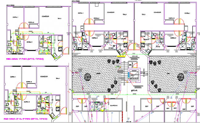 Multi-flooring city hotel architecture layout plan dwg file