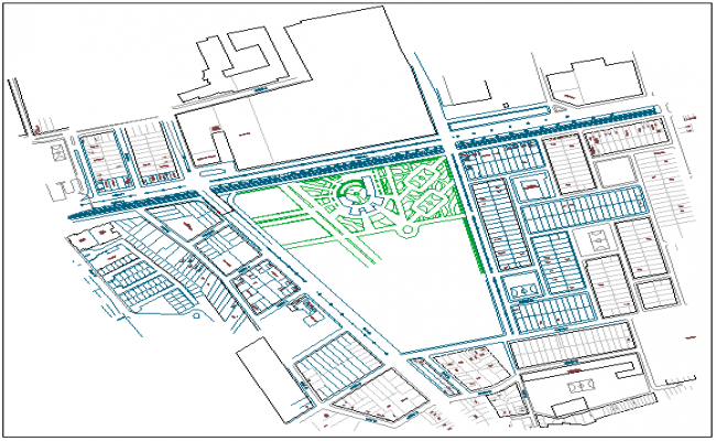 Multi-flooring college landscaping with structure dwg file
