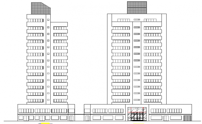 Multi-flooring commercial building front and side elevation details dwg file