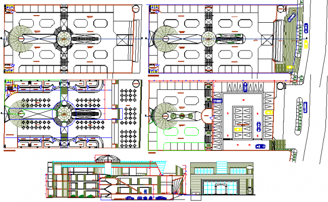 Multi-flooring commercial shopping center auto-cad details dwg file