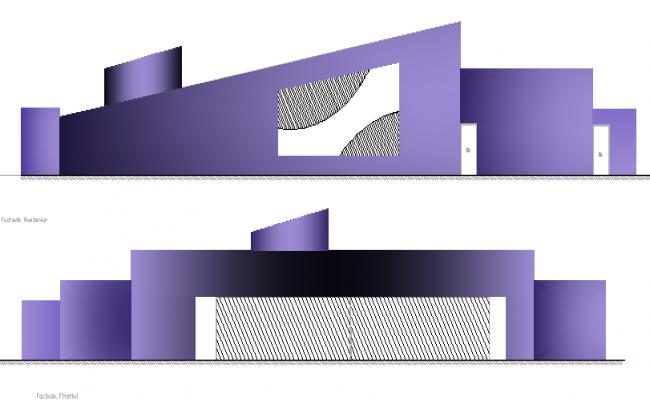 Multi-flooring corporate building elevation details dwg file