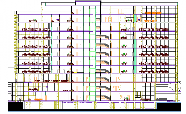 Multi-flooring corporate building sectional view dwg file