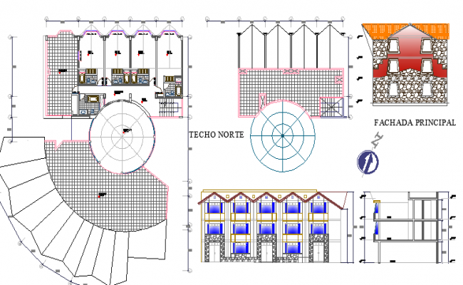 Multi-flooring eco touring hotel architecture project dwg file