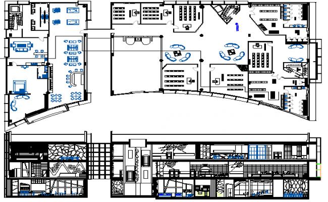 Multi-flooring education building floor plan architecture layout dwg file