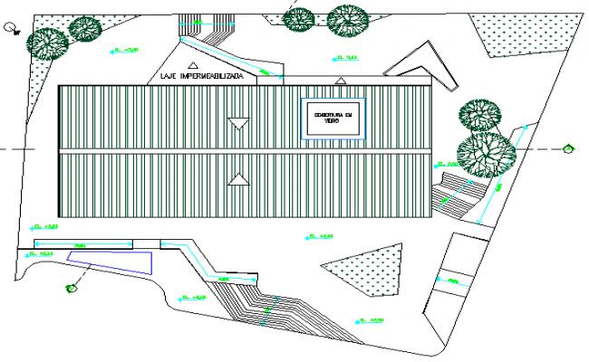 Multi-flooring education building site plan details dwg file