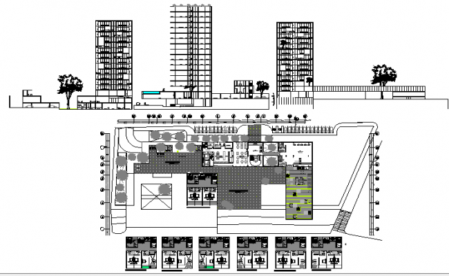 Multi-flooring five star hotel architecture full project details dwg file