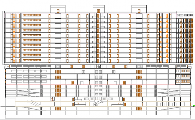 Multi-flooring five star hotel main elevation details dwg file
