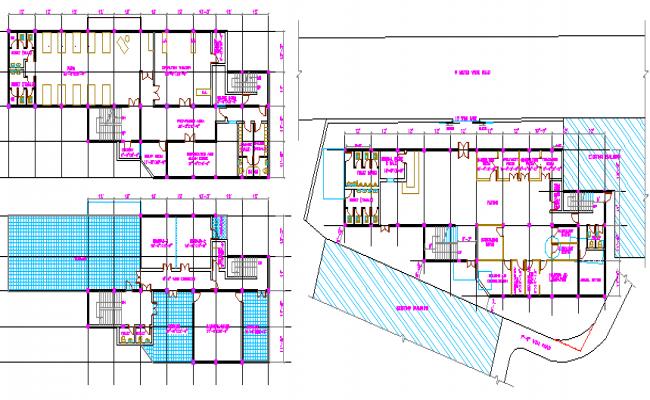 Multi-flooring hospital nepal floor plan details dwg file