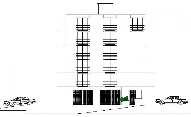 Multi-flooring office building elevation details dwg file